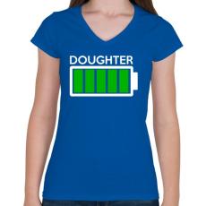 PRINTFASHION DOUGHTER - Női V-nyakú póló - Királykék