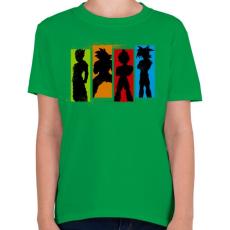 PRINTFASHION Dragonball Saiyan család - Gyerek póló - Zöld