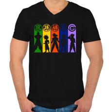 PRINTFASHION Dragonball Z harcosok - Férfi V-nyakú póló - Fekete