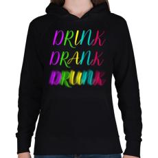 PRINTFASHION DRINK-DRANK-DRUNK - Női kapucnis pulóver - Fekete