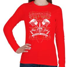 PRINTFASHION Dugattyúk - Női hosszú ujjú póló - Piros