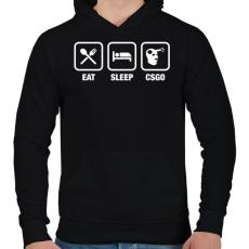 PRINTFASHION EAT SLEEP CSGO - Férfi kapucnis pulóver - Fekete