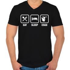 PRINTFASHION EAT SLEEP CSGO - Férfi V-nyakú póló - Fekete