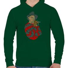 PRINTFASHION Édes álom - Férfi kapucnis pulóver - Sötétzöld
