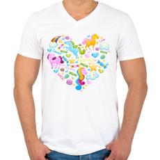 PRINTFASHION Egyszarvú szív - Férfi V-nyakú póló - Fehér