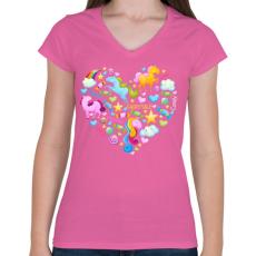 PRINTFASHION Egyszarvú szív - Női V-nyakú póló - Rózsaszín