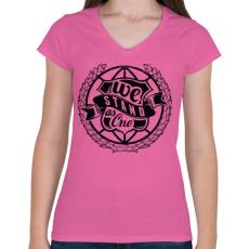 PRINTFASHION Együtt - Női V-nyakú póló - Rózsaszín