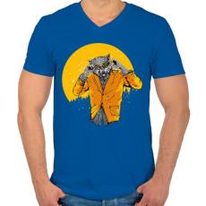 PRINTFASHION Éjjeli szörnyfarkas - Férfi V-nyakú póló - Királykék