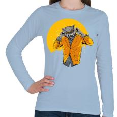 PRINTFASHION Éjjeli szörnyfarkas - Női hosszú ujjú póló - Világoskék