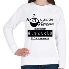 PRINTFASHION ÉJSZAKÁS MŰSZAK - Női pulóver - Fehér