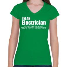 PRINTFASHION ELECTRICIAN - Női V-nyakú póló - Zöld