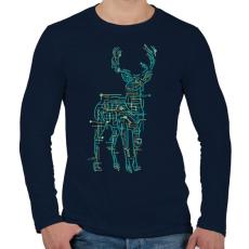 PRINTFASHION Elektroszarvas - Férfi hosszú ujjú póló - Sötétkék