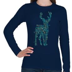 PRINTFASHION Elektroszarvas - Női hosszú ujjú póló - Sötétkék