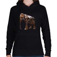 PRINTFASHION Elephant - Női kapucnis pulóver - Fekete