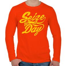 PRINTFASHION Élj a mának - Férfi hosszú ujjú póló - Narancs