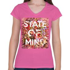 PRINTFASHION Elmeállapot - Női V-nyakú póló - Rózsaszín