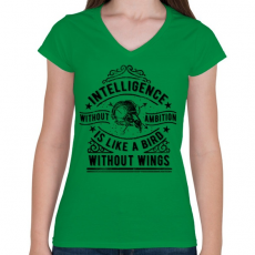 PRINTFASHION Eltökéltség - Női V-nyakú póló - Zöld