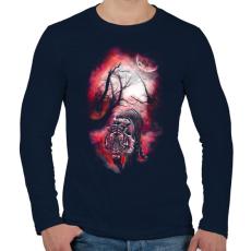 PRINTFASHION Elvarázsolt nyomok - Férfi hosszú ujjú póló - Sötétkék