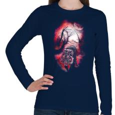 PRINTFASHION Elvarázsolt nyomok - Női hosszú ujjú póló - Sötétkék