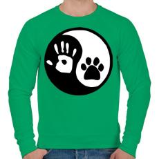 PRINTFASHION Ember/állat barátság - Férfi pulóver - Zöld