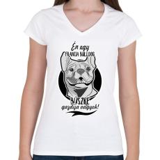 PRINTFASHION én egy francia bulldog büszke gazdija vagyok! - Női V-nyakú póló - Fehér