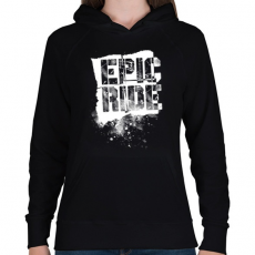PRINTFASHION Epic Ride - fehér - Női kapucnis pulóver - Fekete