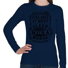 PRINTFASHION Érezd magad biztonságban éjszaka, aludj nővérrel!  - Női hosszú ujjú póló - Sötétkék