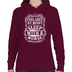 PRINTFASHION Érezd magad biztonságban éjszaka, aludj nővérrel!  - Női kapucnis pulóver - Bordó