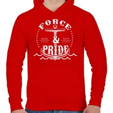PRINTFASHION Erő és büszkeség - Férfi kapucnis pulóver - Piros