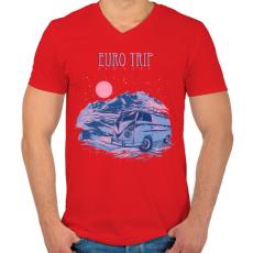 PRINTFASHION Európai utazás - Férfi V-nyakú póló - Piros