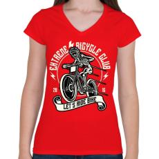 PRINTFASHION Extrém bringás - Női V-nyakú póló - Piros