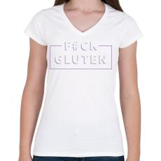 PRINTFASHION fcuk-gluten-white-purple - Női V-nyakú póló - Fehér