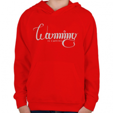 PRINTFASHION Felmelegedés - Gyerek kapucnis pulóver - Piros