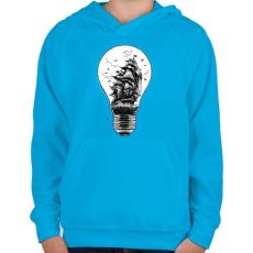 PRINTFASHION Fényvitorlás - Gyerek kapucnis pulóver - Azúrkék