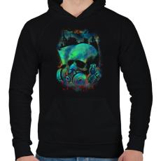 PRINTFASHION Fertőzés - Férfi kapucnis pulóver - Fekete