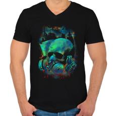 PRINTFASHION Fertőzés - Férfi V-nyakú póló - Fekete