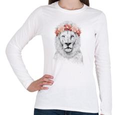 PRINTFASHION Festival lion - Női hosszú ujjú póló - Fehér