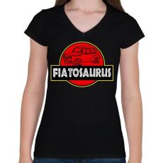 PRINTFASHION Fiatosaurus - Női V-nyakú póló - Fekete