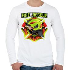 PRINTFASHION Fire and Rescue - Férfi hosszú ujjú póló - Fehér