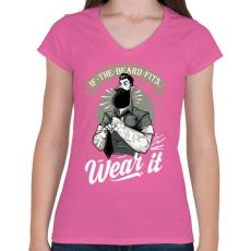 PRINTFASHION Fitt szakáll - Női V-nyakú póló - Rózsaszín