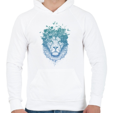 PRINTFASHION Floral lion - Férfi kapucnis pulóver - Fehér
