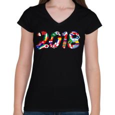PRINTFASHION Foci VB 2018 - Női V-nyakú póló - Fekete