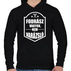 PRINTFASHION FODRÁSZ, NEM VARÁZSLÓ - Férfi kapucnis pulóver - Fekete