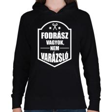 PRINTFASHION FODRÁSZ, NEM VARÁZSLÓ - Női kapucnis pulóver - Fekete