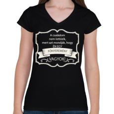 PRINTFASHION Főnyeremény - Női V-nyakú póló - Fekete