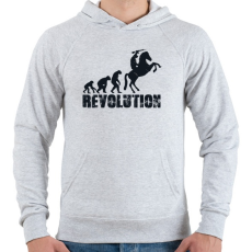 PRINTFASHION Forradalom - Férfi kapucnis pulóver - Sport szürke