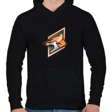 PRINTFASHION Fox - Férfi kapucnis pulóver - Fekete