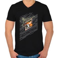 PRINTFASHION Fox Special - Férfi V-nyakú póló - Fekete