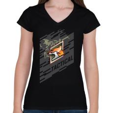 PRINTFASHION Fox Special - Női V-nyakú póló - Fekete