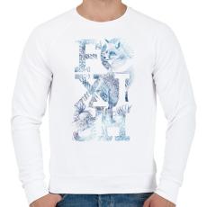 PRINTFASHION Foxish - Férfi pulóver - Fehér